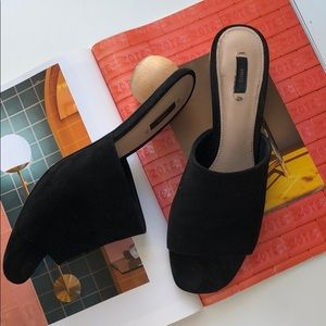 Mango wooden block heel sandal black 38